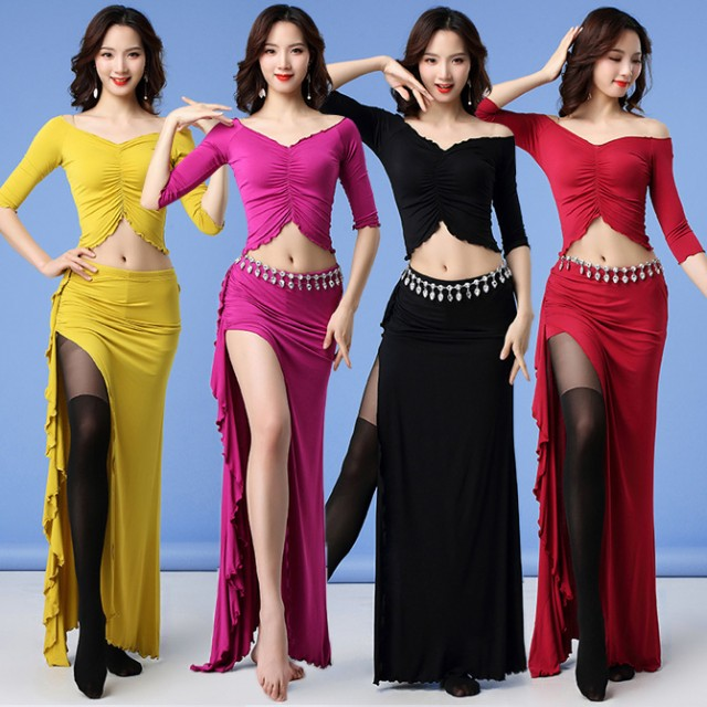 ベリーダンス 社交ダンス ラテン 上下セット 4色 M-XL モダール ロングスカート レッスン着 練習服 舞台演出 ステージ衣装(hy1213)