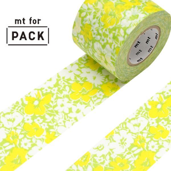 クラフトテープ 粘着テープ 幅広 mt for PACK 花柄 幅45mm ( ガムテープ テープ おしゃれ 花 フラワー イエロー 黄色 グリーン 緑 梱包