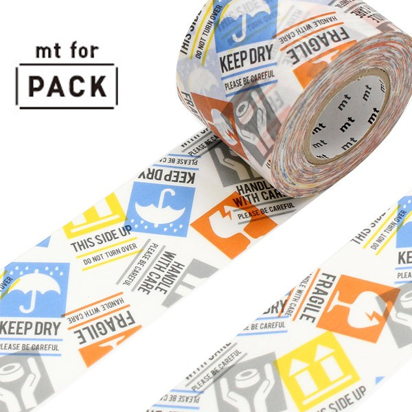 クラフトテープ 粘着テープ 幅広 mt for PACK ケアマーク 幅45mm ( ガムテープ テープ おしゃれ 柄 注意 マーク 注意マーク 梱包 ラッピ