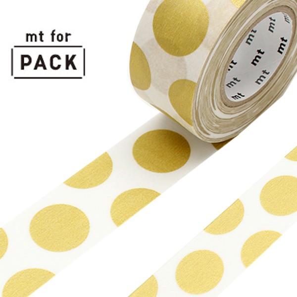 クラフトテープ 粘着テープ mt for PACK ドット・金 幅25mm ( ガムテープ テープ おしゃれ ドット 水玉 金 ゴールド 梱包 ラッピング di