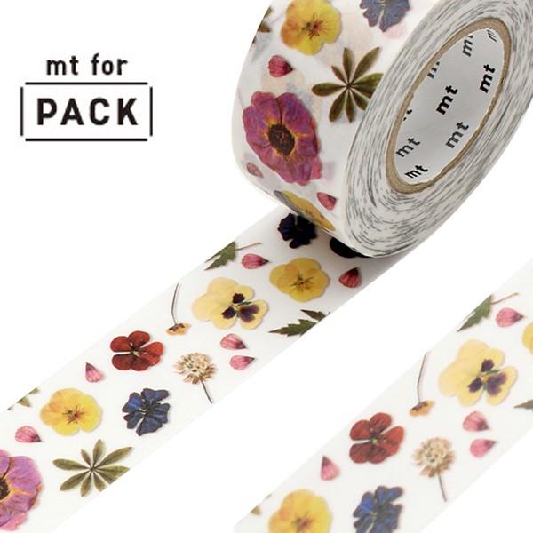 クラフトテープ 粘着テープ mt for PACK 押し花 幅25mm ( ガムテープ テープ おしゃれ 花柄 花 押花 フラワー カラフル 梱包 ラッピング
