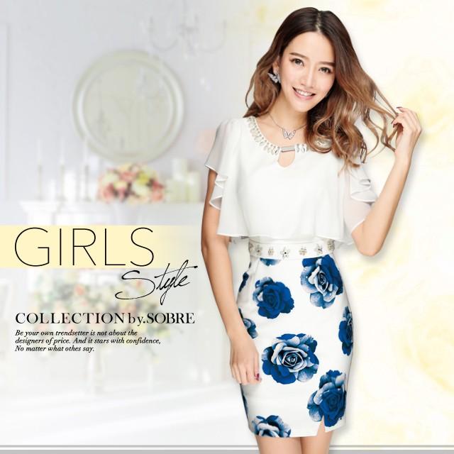 ふんわり&タイトなデザイン♪ フラワーシフォンフリルワンピース[キャバ ミニ ドレス 大きいサイズ