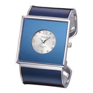 腕時計 バングル スクエア文字盤 スタイリッシュ (ブルー)