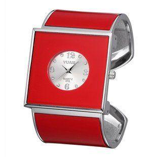 【お取り寄せ】腕時計 バングル スクエア文字盤 スタイリッシュ (レッド)