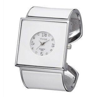 【お取り寄せ】腕時計 バングル スクエア文字盤 スタイリッシュ (ホワイト)