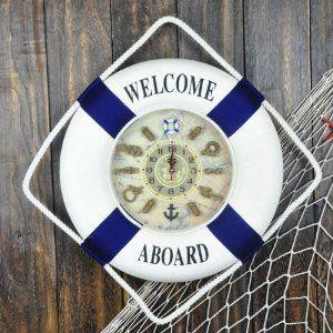 掛け時計 浮き輪型 マリン 文字盤がかわいい (ブルー 35cm)