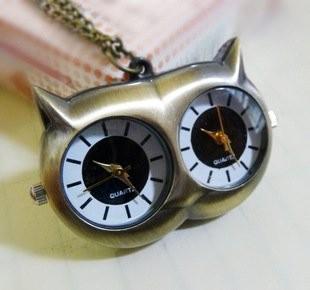 懐中時計 フクロウ アンティーク風 ダブルの文字盤