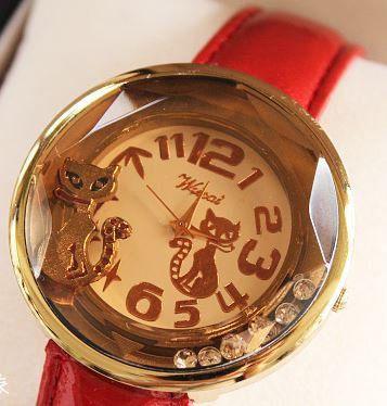 腕時計 ネコ ゴールド モダン 大きな文字盤 (レッド)