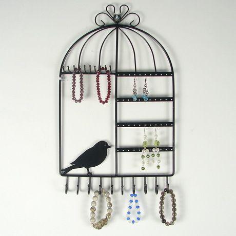 アクセサリースタンド 壁掛け用 鳥かご型 (ブラック)