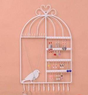 【お取り寄せ】アクセサリースタンド 壁掛け用 鳥かご型 ホワイト