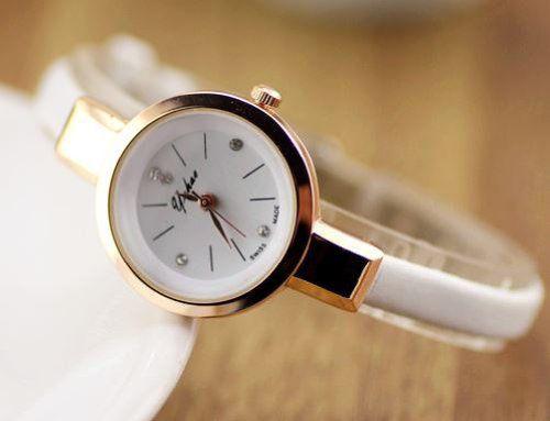 【お取り寄せ】腕時計 おしゃれ 細身バンド 丸い文字盤 (ホワイト)