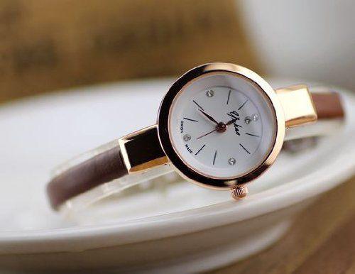 腕時計 おしゃれ 細身バンド 丸い文字盤 (ブラウン)