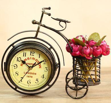 置時計 両面 文字盤 自転車型 ビンテージ風