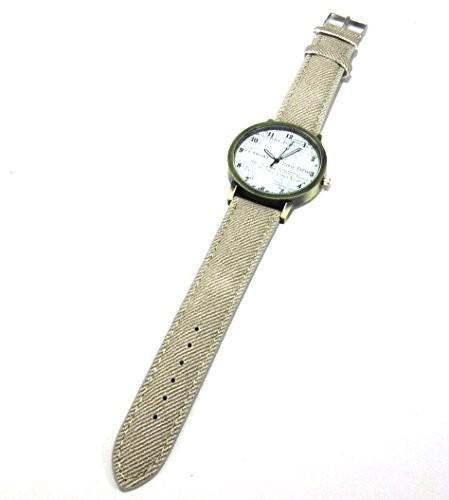 腕時計 アンティーク風 英字 大きめ文字盤 レザー製 (グレー)