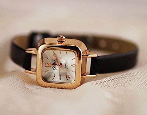 腕時計 クラシック 華奢バンド スクエア文字盤 (ブラック)