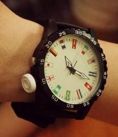 腕時計 12ヶ国 国旗 大盤 文字盤 男女兼用 ホワイト (秒針 ホワイト)