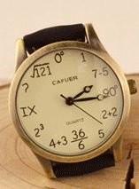 腕時計 計算式風 文字盤 ユニーク (ブラック)