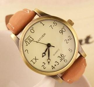 腕時計 計算式風 文字盤 ユニーク (ライトブラウン)