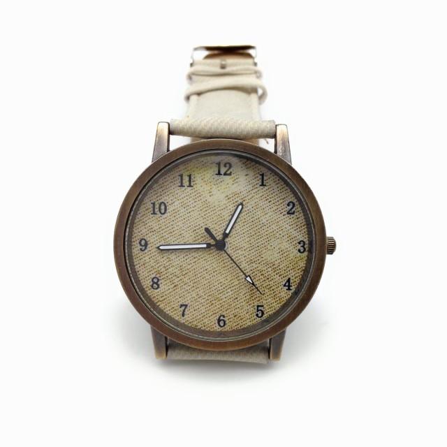 腕時計 ビンテージ調 デニム地風 大きめ文字盤 (アイボリー)