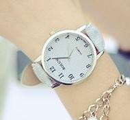 腕時計 ビンテージ調 デニム地風 大きめ文字盤 (ライトブルー)