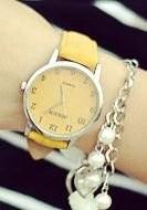 腕時計 ビンテージ調 デニム地風 大きめ文字盤 (イエロー)