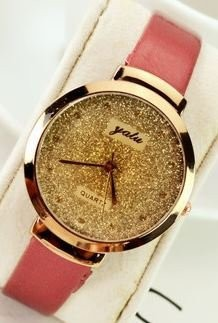 【お取り寄せ】腕時計 ゴージャス 金ラメ風 大きめ文字盤 (レッド)