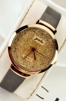 【お取り寄せ】腕時計 ゴージャス 金ラメ風 大きめ文字盤 (ブラック)