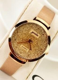 【お取り寄せ】腕時計 ゴージャス 金ラメ風 大きめ文字盤 (ライトブラウン)