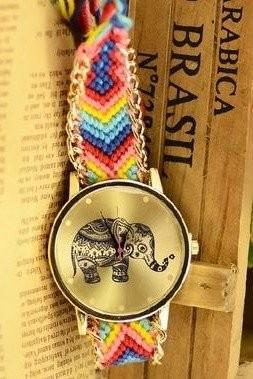 【お取り寄せ】腕時計 エスニック風 象の文字盤 編み編みベルト (A)