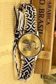腕時計 エスニック風 象の文字盤 編み編みベルト (C)