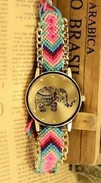 【お取り寄せ】腕時計 エスニック風 象の文字盤 編み編みベルト (E)