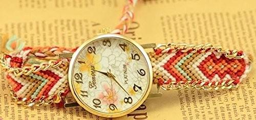 【お取り寄せ】腕時計 エスニック風 花柄の文字盤 編み編みベルト (A)