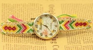 【お取り寄せ】腕時計 エスニック風 花柄の文字盤 編み編みベルト (B)
