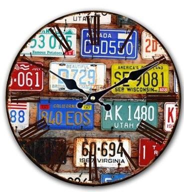 掛け時計 ビンテージ風 ナンバープレート 文字盤