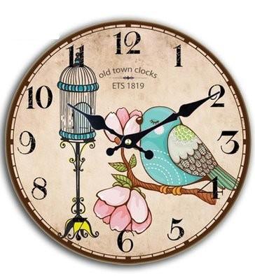 掛け時計 レトロ風 青い小鳥 イラスト 文字盤