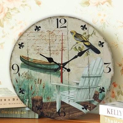 【お取り寄せ】掛け時計 湖畔の風景 小鳥 ボート 爽やかな文字盤