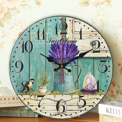 【お取り寄せ】掛け時計 ラベンダー 小鳥 カントリー風文字盤