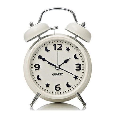 目覚まし時計 月と星の文字盤 ツインベル ライト付き (ホワイト)