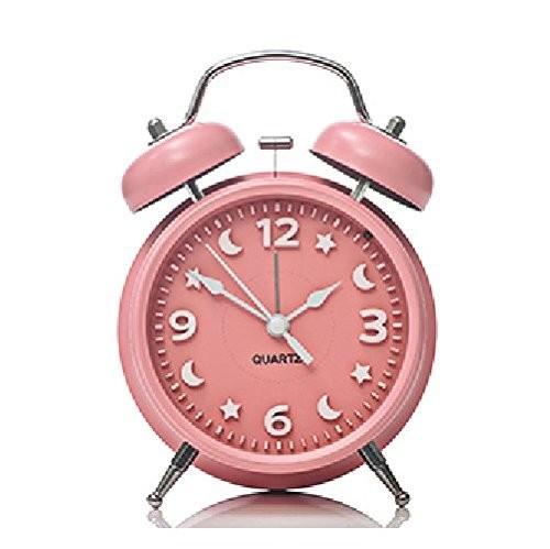 目覚まし時計 月と星の文字盤 ツインベル ライト付き (ピンク)