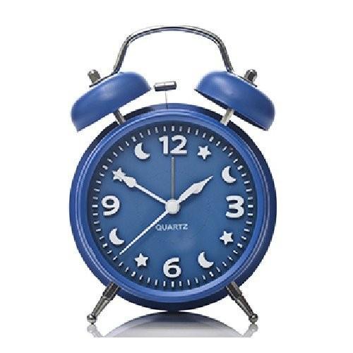 目覚まし時計 月と星の文字盤 ツインベル ライト付き (ブルー)