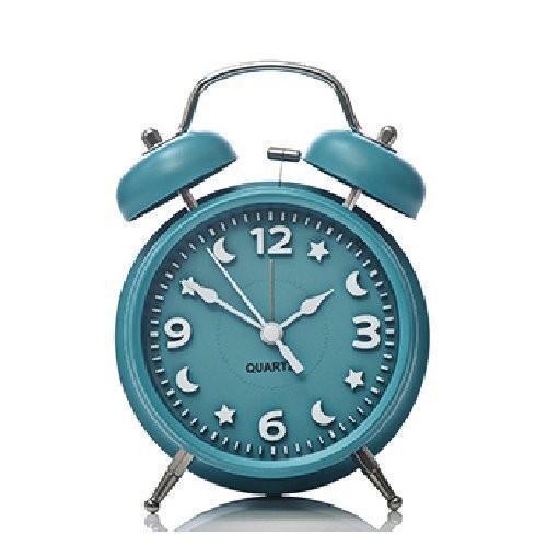 目覚まし時計 月と星の文字盤 ツインベル ライト付き (ブルーグリーン)