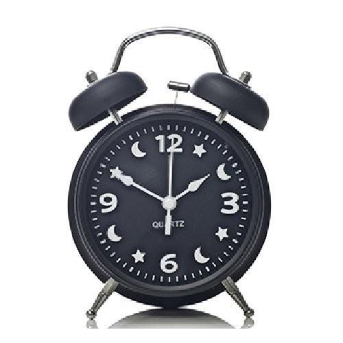 目覚まし時計 月と星の文字盤 ツインベル ライト付き (ブラック)