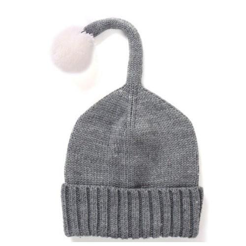 【お取り寄せ】ニット帽 キッズ用 シンプル しっぽ風ボンボン付き (グレー)