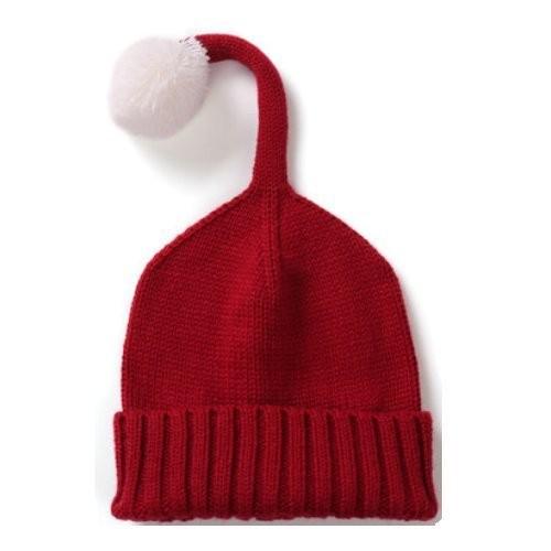 【お取り寄せ】ニット帽 キッズ用 シンプル しっぽ風ボンボン付き (レッド)