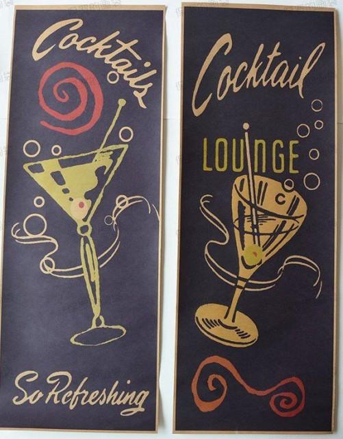 【お取り寄せ】ポスター レトロ風 おしゃれなカクテル Cacktail 2枚セット