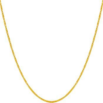 Lifetime Jewelry 1.2mm ツイストボックスチェーンネックレス 男女兼用 24Kゴールドメッキ