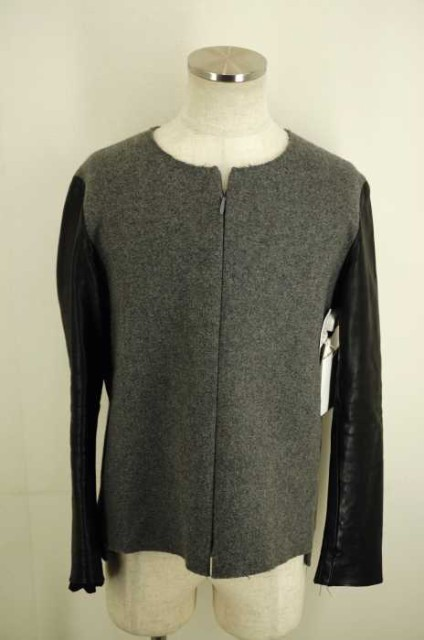 SUNSEA 13AW Melton Leather long Tee メルトンレザーロングT S グレイ × ブラック メンズ【バズストア 古着】【中古】