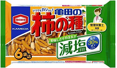 亀田製菓 減塩亀田の柿の種 6袋詰 182g ×12個