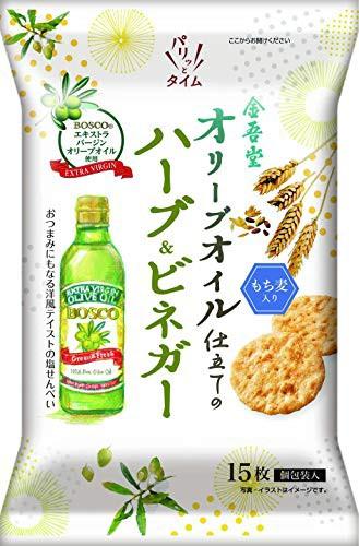 オリーブオイル仕立ての塩せんべいハーブ ビネガー風味 15枚 ×12袋 [全年齢]