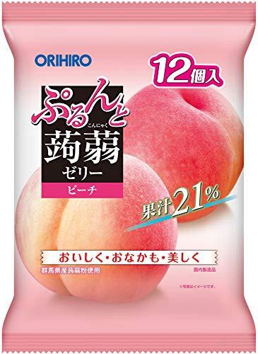 オリヒロプランデュ ぷるんと蒟蒻ゼリーパウチ 12個入ピーチ 12個入 ×6袋